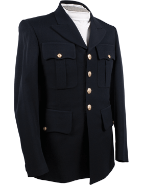 Male Army Dress Blue Officer Coat Elastique Material