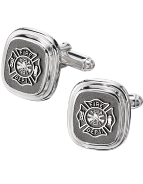Fire Department Cuff Links Style 14 Sterling Silver