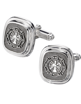 Fire Rescue Cuff Links Style 14 Sterling Silver