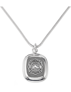 Fire Department Pendant Necklace Sterling Silver