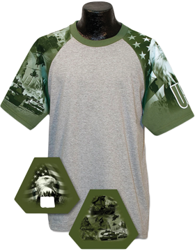 Cotton Theme Jersey Ash with Army Theme Sleeves 100-24