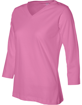 Ringspun V-Neck 3/4-Sleeve T-Shirt 3577 Raspberry