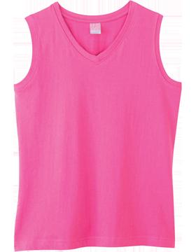 Ringspun Jersey V-Neck Sleeveless T-Shirt 3584 Raspberry