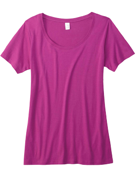 Sheer Combed Ringspun Scoop T-Shirt 391A Raspberry