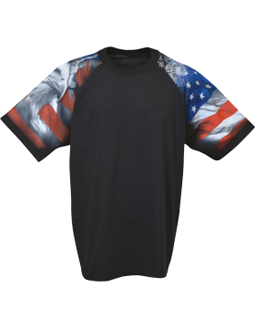 Cotton Theme Shirt Black with Patriotic Theme Sleeves 400-04