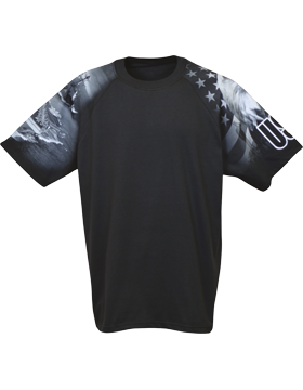 Cotton Theme Shirt Black with Navy Theme Sleeves 400-25 small