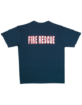 Navy T-Shirt with Fire Rescue (2 Sided) 64-624 small