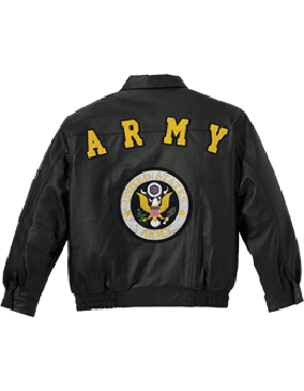 U.S. Army Leather Jacket w/ Logo Black 7497