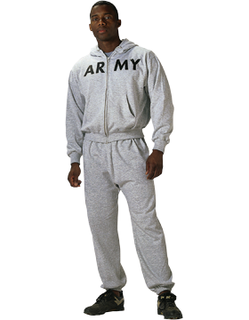 Army Gray PT Zipper Sweatshirt G.I. Type 6083