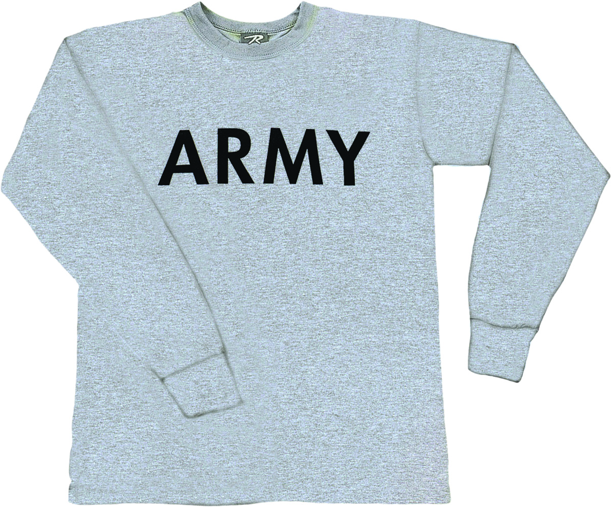 Army gray pt long sleeve us military for Jrotc t shirt designs
