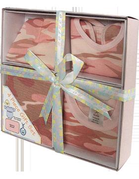 ACU Pink Infant 4 Piece Gift Set Bodysuit Bib Crib Cap and Blanket