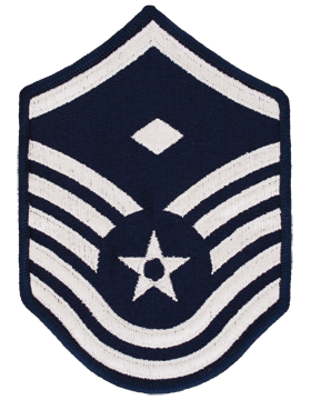 Air Force Chevron Blue and Silver (Pair) Master Sergeant with Diamond