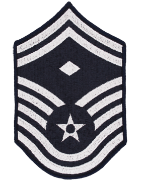 Air Force Chevron Blue and Silver (Pair) Senior Master Sergeant with Diamond