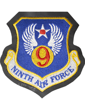 9th Air Force Full Color Patch on Black Leather with Fastener