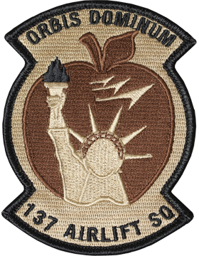 137th Airlift Sq Desert Patch with Fastener (Orbis Dominum) 4inx3in