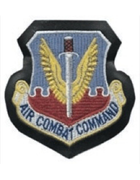 Air Combat Command Full Color Patch on Leather with Fastener