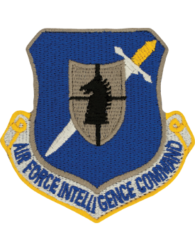 USAF Air Intelligence Command Full Color Patch On Leather With Fastener