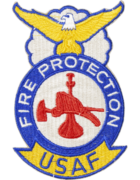 USAF Fire Protection Badge Bugle Hat and Axe Full Color Patch