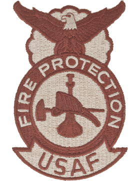 USAF Fire Protection Patch (AF-P109D) Bugle Hat & Axe Desert