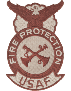 Fire Protection Badge Crew Chief 2 Bugles (Crossed) Desert