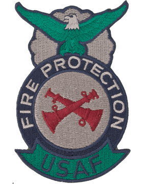 Fire Protection Badge Crew Chief Patch (Crossed) Two Bugles ABU