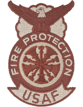 Fire Protection Badge Fire Chief Patch, Five Bugles Desert