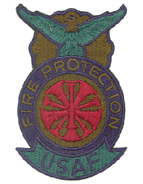 Fire Protection Badge Fire Chief Patch Five Bugles Subdued