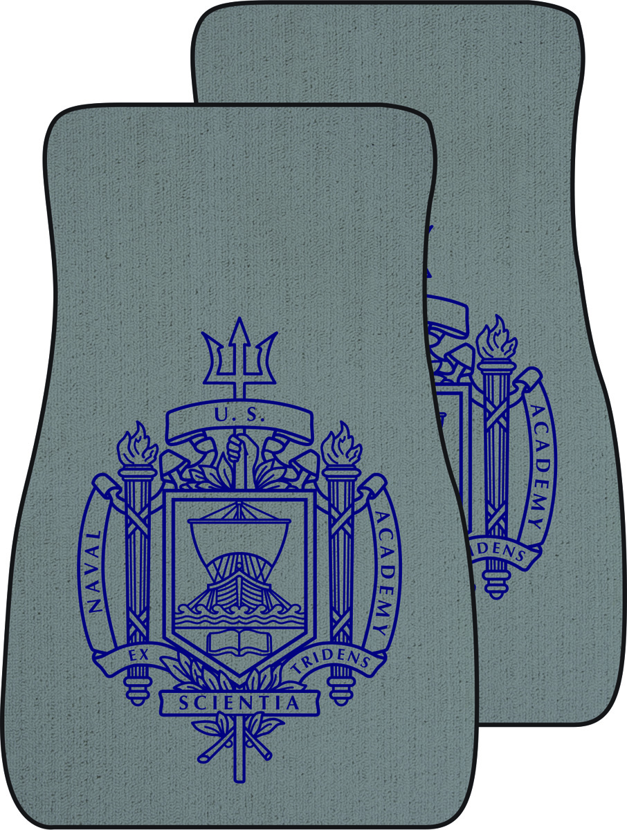 Naval Academy Crest Auto Mats, Set of 2 Front, Light Gray