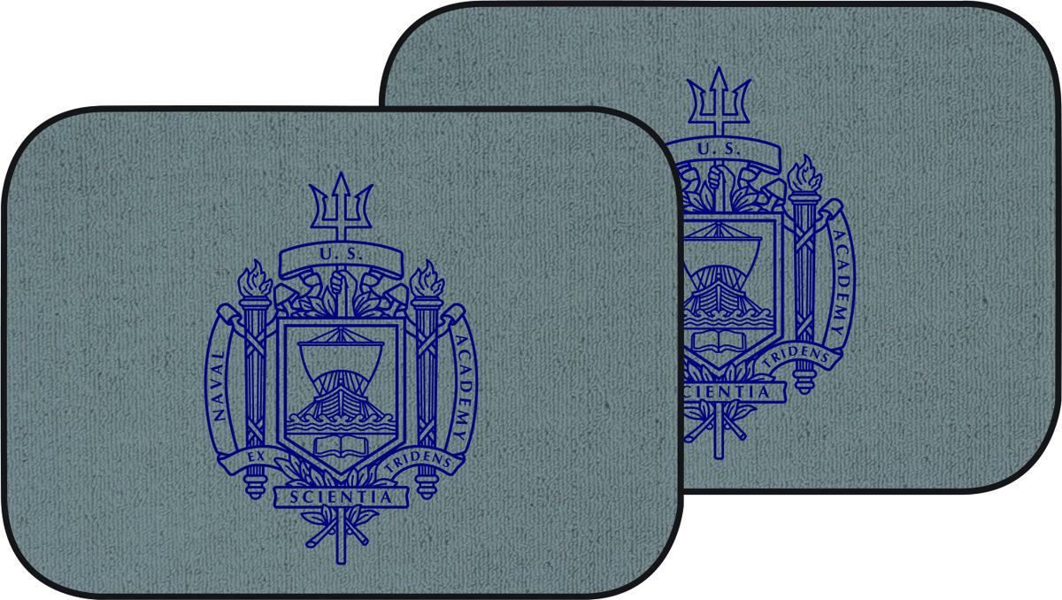 Naval Academy Crest Auto Mats, Set of 2 Rear, Light Gray