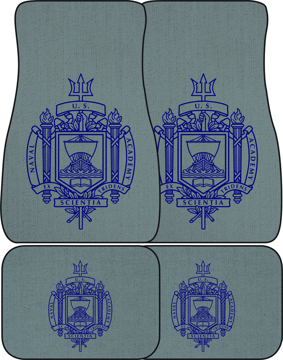 Naval Academy Crest Auto Mats, Set of 4 Front and Rear, Light Gray