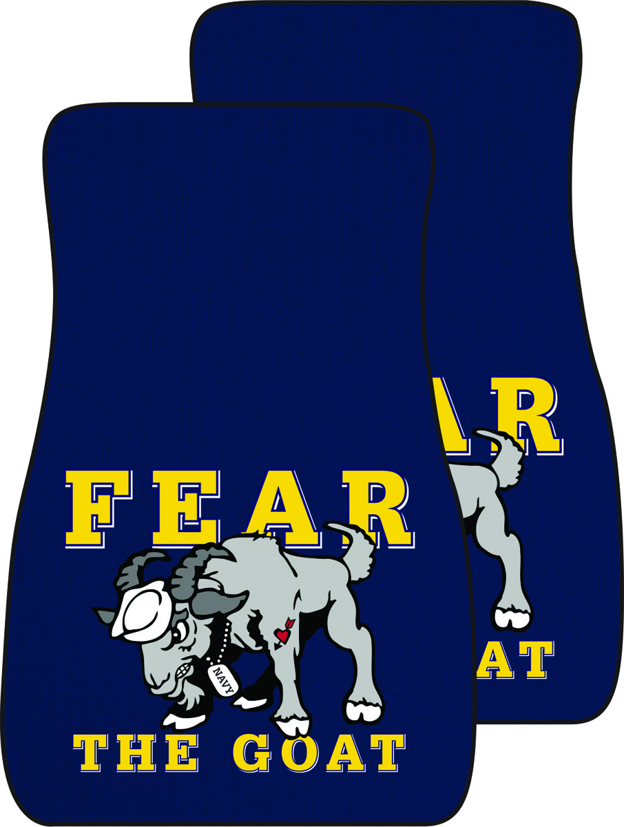 USNA with Cartoon Goat Auto Mats, Set of 2 Front