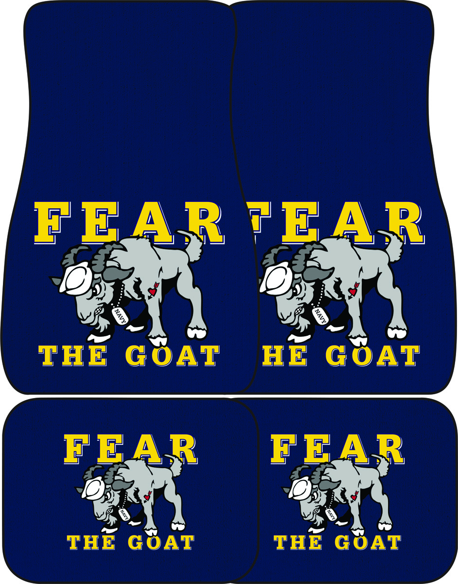 USNA with Cartoon Goat Auto Mats, Set of 4 Front and Rear