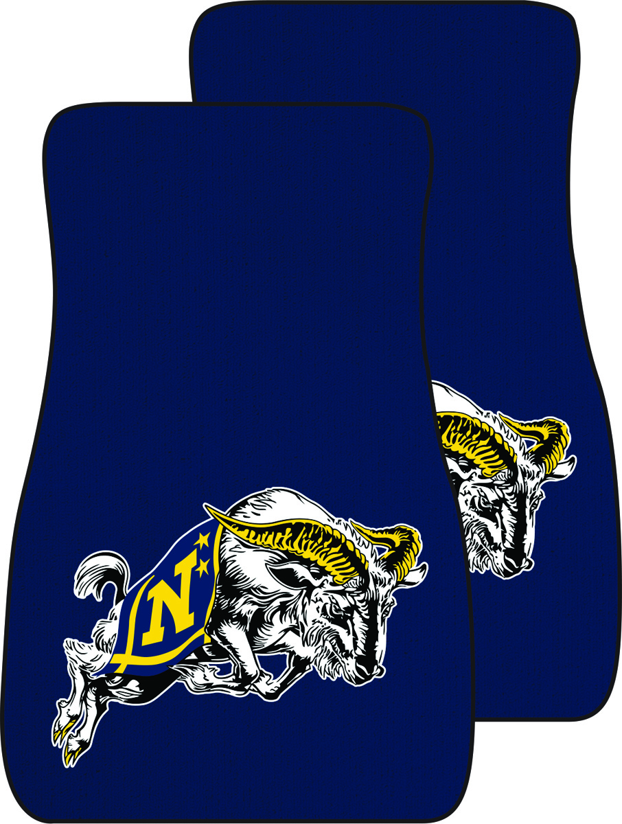 USNA with Jumping Goat Auto Mats, Set of 2 Front, Navy