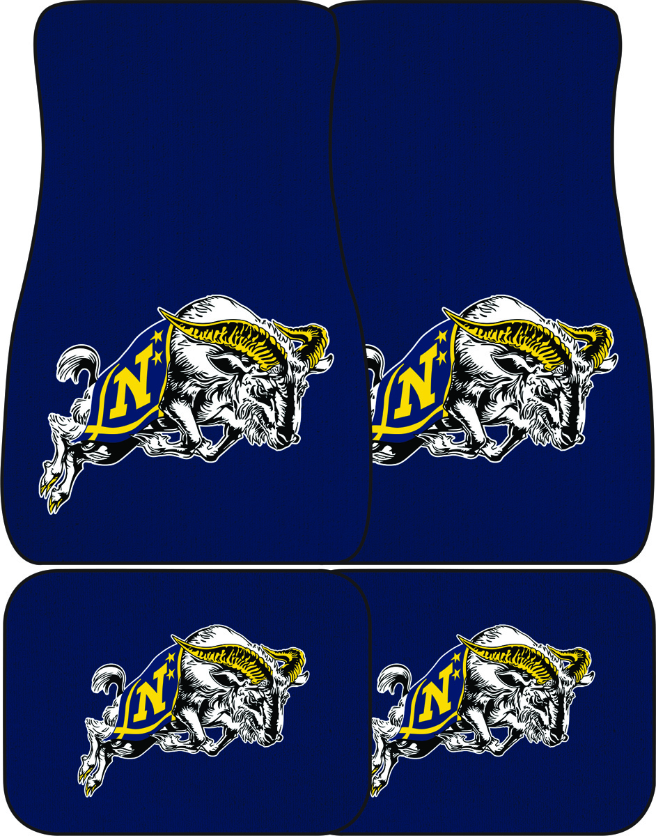 USNA with Jumping Goat Auto Mats, Set of 4 Front and Rear, Navy