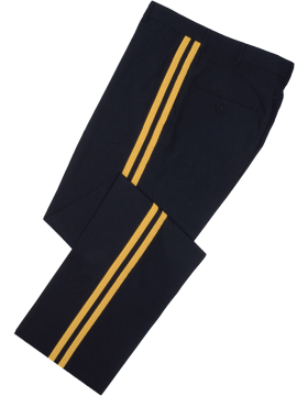 Male Army General Officer Dress Blue Belted Pants Tropical Material