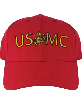 BC-USMC-200B Ball Cap Red - USMC with MC emblem between