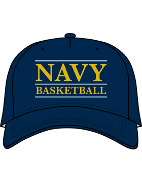 BC-USNA-100A Ball Cap Navy Blue - Navy Basketball with Line Accent