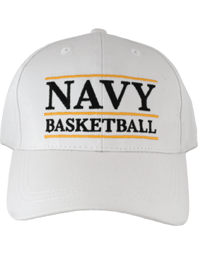 BC-USNA-100B Ball Cap White - Navy Basketball with Line Accent