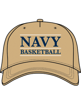 BC-USNA-100C Ball Cap Khaki - Navy Basketball with Line Accent