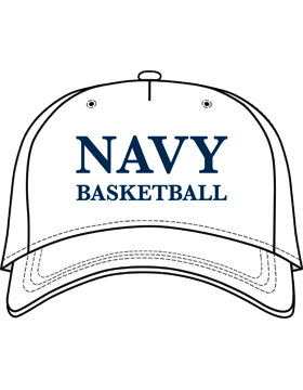 BC-USNA-100E Ball Cap White - Navy Basketball without Line Accent