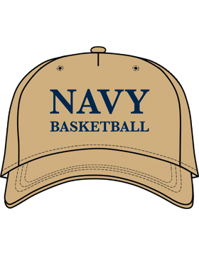 BC-USNA-100F Ball Cap Khaki - Navy Basketball without Line Accent