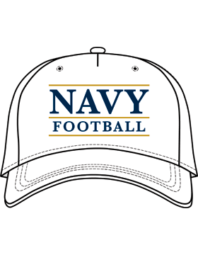 BC-USNA-101B Ball Cap White - Navy Football with Line Accent