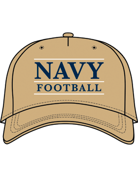 BC-USNA-101C Ball Cap Khaki - Navy Football with Line Accent