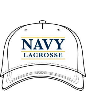 BC-USNA-102B Ball Cap White - Navy Lacrosse with Line Accent