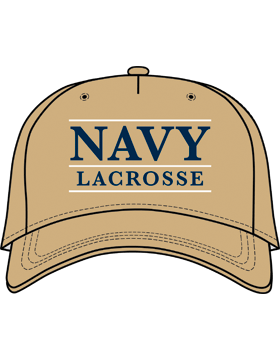 BC-USNA-102C Ball Cap Khaki - Navy Lacrosse with Line Accent