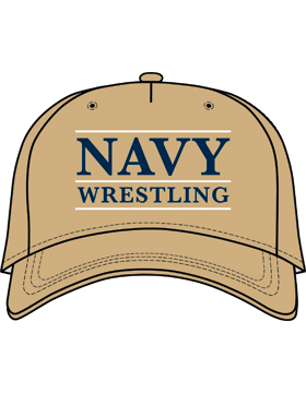 BC-USNA-103C Ball Cap Khaki - Navy Wrestling with Line Accent