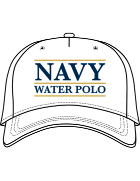 BC-USNA-104B Ball Cap White - Navy Water Polo with Line Accent