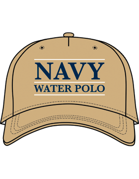 BC-USNA-104C Ball Cap Khaki - Navy Water Polo with Line Accent