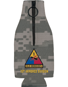 Bottle Hugger with Zipper, 1st Armor Div Patch, Camo