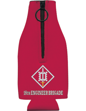 Bottle Hugger with Zipper, 18th Engineer Brigade Patch, Red